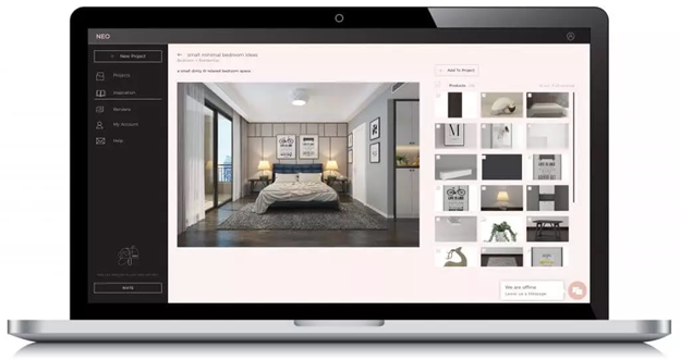 A laptop showing a tool that can help interior designers in their remote business